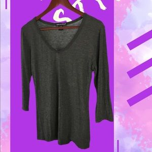 American Dream 3/4 Sleeve Large Grey Lounging Top